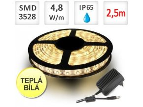 Berge LED pásek 2,5m sada, 4,8W, 60x3528/m, voděodolný, teplá + zdroj