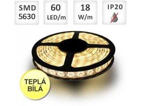 Berge LED pásek 5m, Profi, 60LED/m, 5630, 18W/m, Teplá