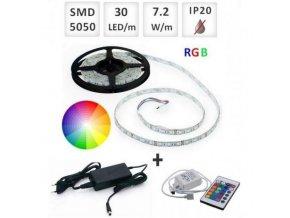 Berge SADA RGB LED pásek 2,5m 30x5050/m + Zdroj + Ovladač
