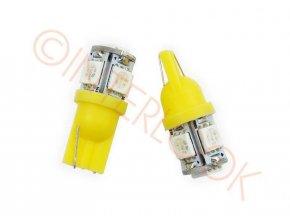 LED auto žárovka LED T10 W5W 5 SMD 5050 oranžová