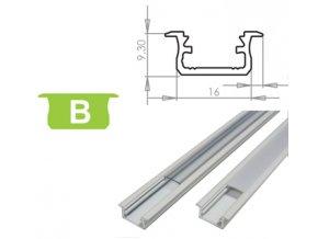 Hliníkový profil LUMINES B zápustný 1m pro LED pásky, bílý lakovaný