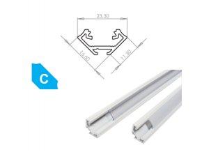 Hliníkový profil LUMINES C 1m pro LED pásky, lakovaný bílý