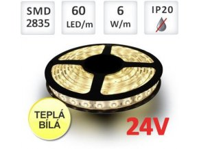 Berge LED pásek 24V 60ks 2835 10.8W/m Teplá