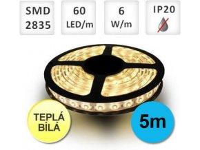 PremiumLED LED pásek 5M 60ks 2835 6W/m Teplá