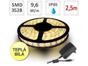 Berge LED pásek 2,5m sada, 9,6W, 120x3528/m, voděodolný, teplá + Zdroj