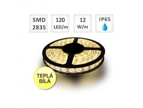 PremiumLED LED pásek 1m, 120ks, 2835, 12W/m, Teplá, Voděodolný