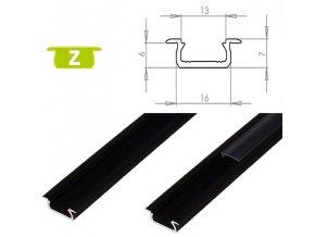 LEDLabs Hliníkový profil LUMINES Z zápustný 1m pro LED pásky, černý
