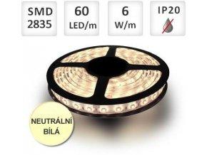 PremiumLED LED pásek 1m, 60ks, 2835, 6W/m, Neutrální