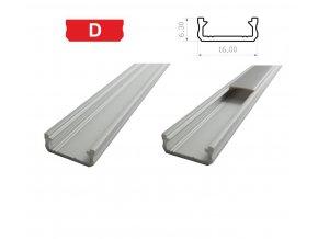 LEDLabs Hliníkový profil LUMINES D 1m pro LED pásky, stříbrný eloxovaný