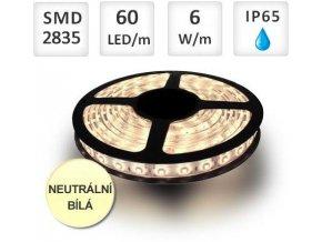 PremiumLED LED pásek 1m, 60ks, 2835, 6W/m, voděodolný, Neutrální