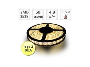 Berge LED pásek Premium 5m, 60ks/m, 3528, 4,8W/m, Teplá
