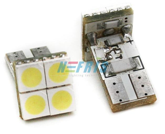 LED auto žárovka LED W5W T10 4 SMD 5050 CAN BUS FRONT
