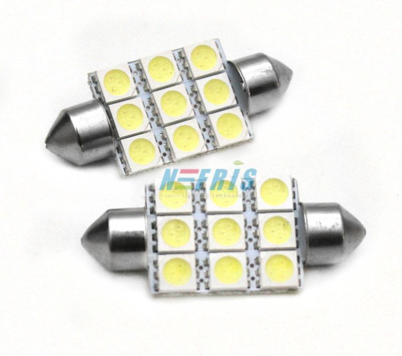 LED auto žárovka LED C5W 9 SMD 5050 39mm