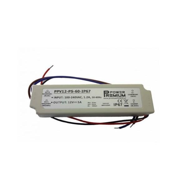 Napájecí zdroj 60W 5A 12V DC voděodolný Premium Power