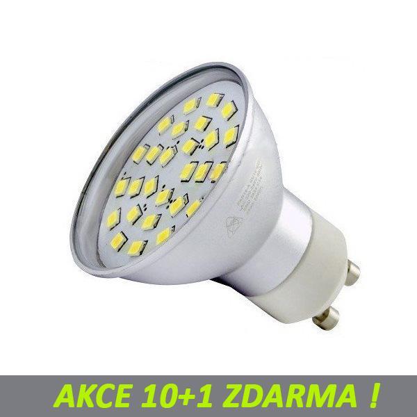AKCE: Ledlux LED žárovka 10+1 5,5W 27xSMD2835 GU10 480lm Studená