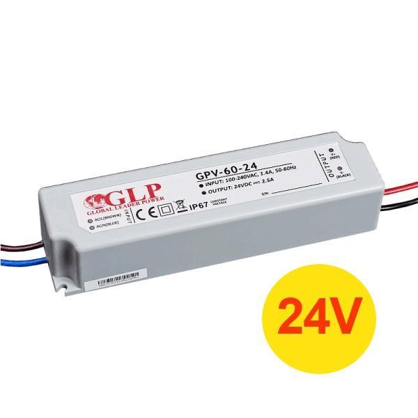 Napájecí zdroj 60W 2,5A 24V DC, voděodolný / venkovní, Global Leader Power