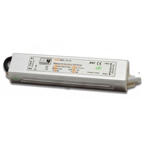Napájecí zdroj MPL 15W 1,25A 12V DC, voděodolný / venkovní