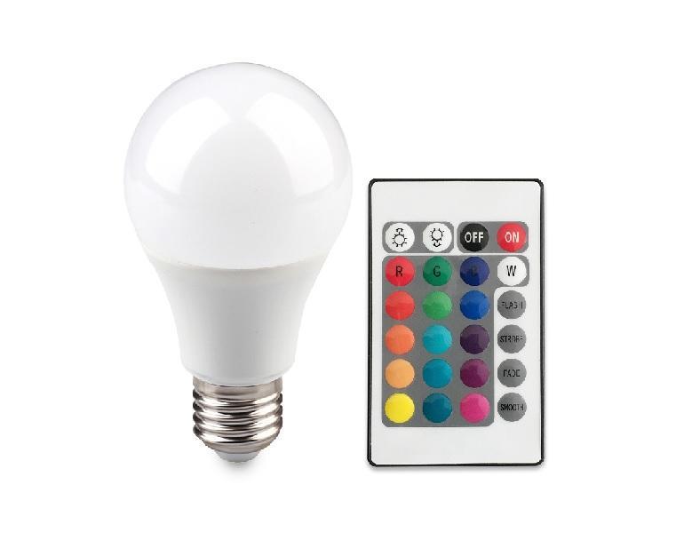 Berge RGBW LED žárovka 6W E27 470lm s ovladačem