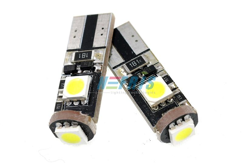 Interlook LED auto žárovka LED T10 W5W 3 SMD 5050 CAN BUS