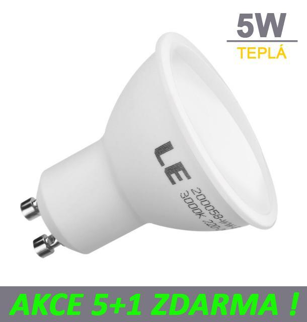 AKCE: 5+1 Ledspace LED žárovka 5W GU10 450lm Teplá