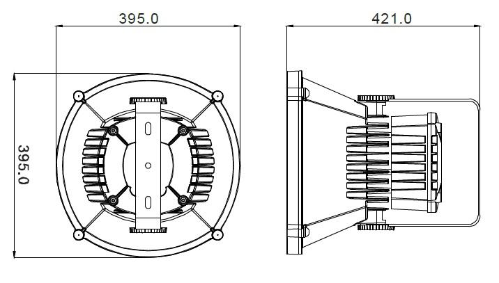Rozměry průmyslového LED svítidla