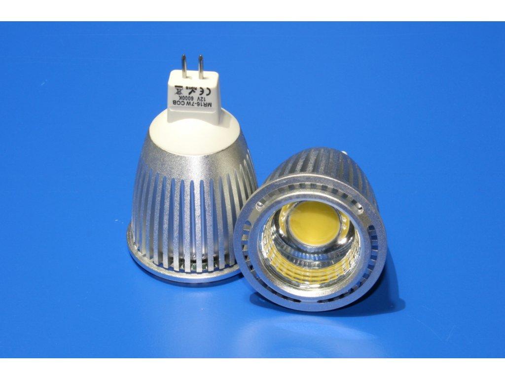 LED bodovka MR16, 7W, 12V, studená bílá