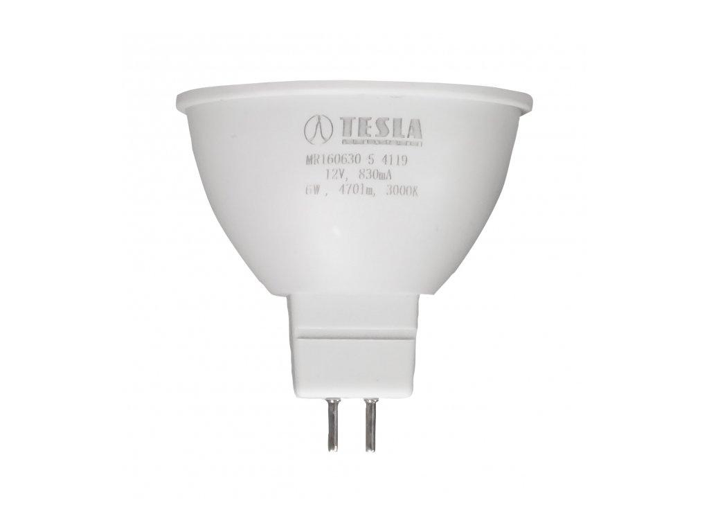 Tesla - LED žárovka GU5,3 MR16, 6W, 12V, 470lm, 25 000h, 3000K teplá bílá, 100°