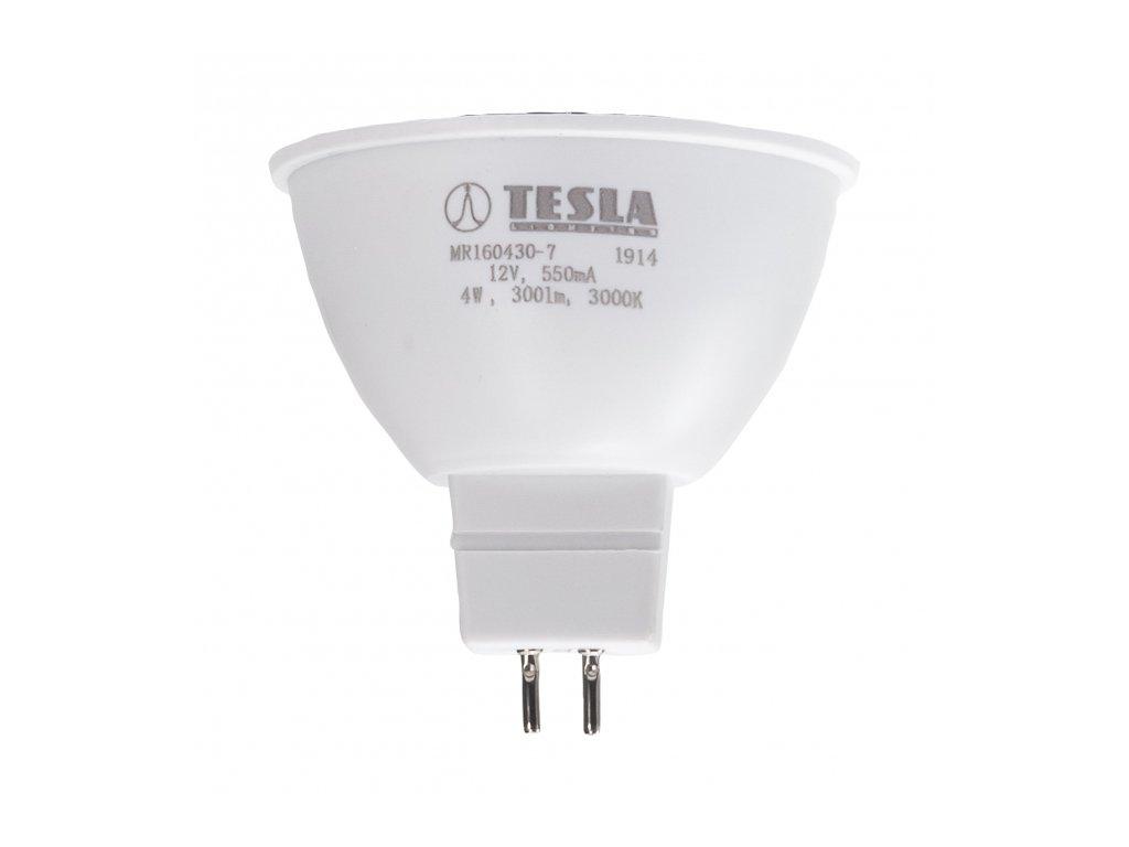 Tesla - LED žárovka GU5,3 MR16, 4W, 12V, 350lm, 25 000h, 3000K teplá bílá, 100°