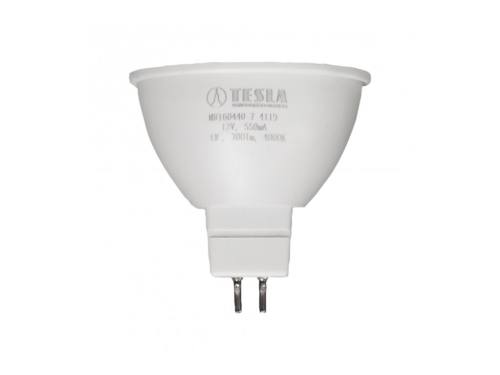 Tesla - LED žárovka GU5,3 MR16, 4W, 12V, 350lm, 25 000h, 4000K teplá bílá, 100°