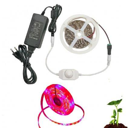 LED pásek 5m kompletní sada pro pěstování rostlin 60W + stmívač