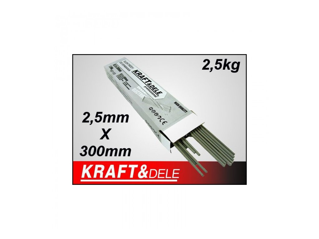 Elektrody rutilové 2,5x300mm 2,5kg, Kraft&Dele KD1153
