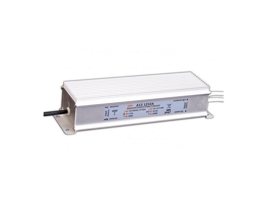 MW Power napájecí napěťový zdroj pro LED pásky12V, 150W, 12,5A, voděodolný IP67