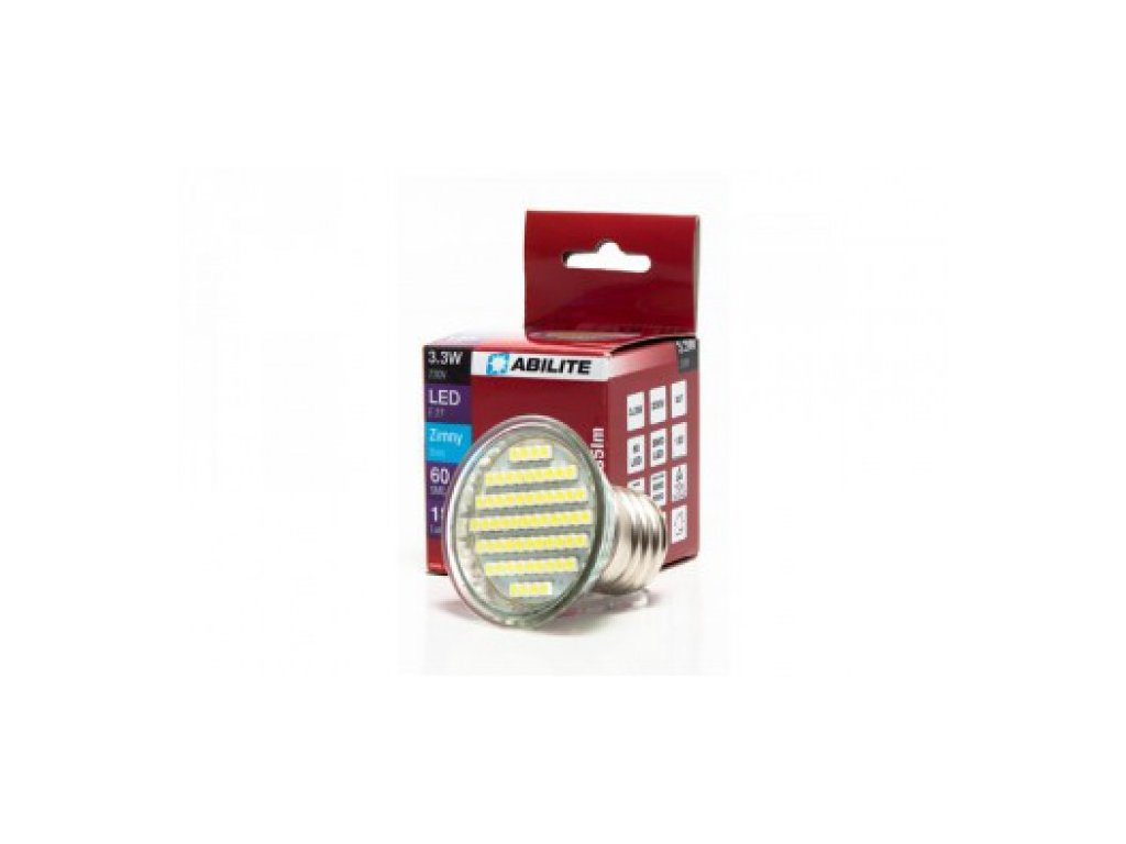 LED žárovka E27 3,3W 185lm studená bílá
