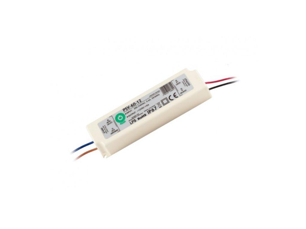 POS napájecí zdroj napěťový pro LED pásky 12V, 60W, 5A, voděodolný IP67