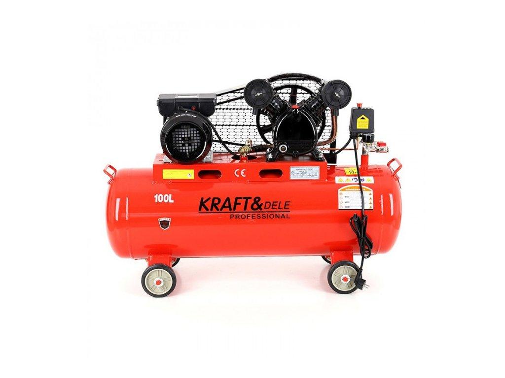 Olejový kompresor, dvoupístový, 100L, 2,8kW, Kraft&Dele KD402