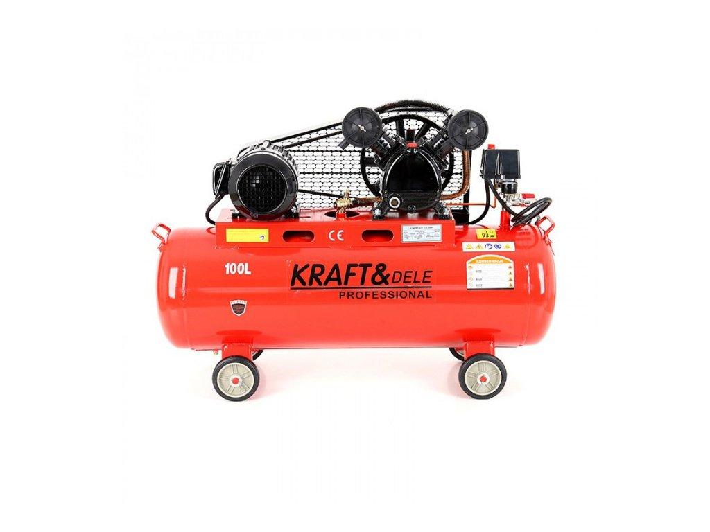 Olejový kompresor dvoupístový 100L, 3,4kW, Kraft&Dele KD404
