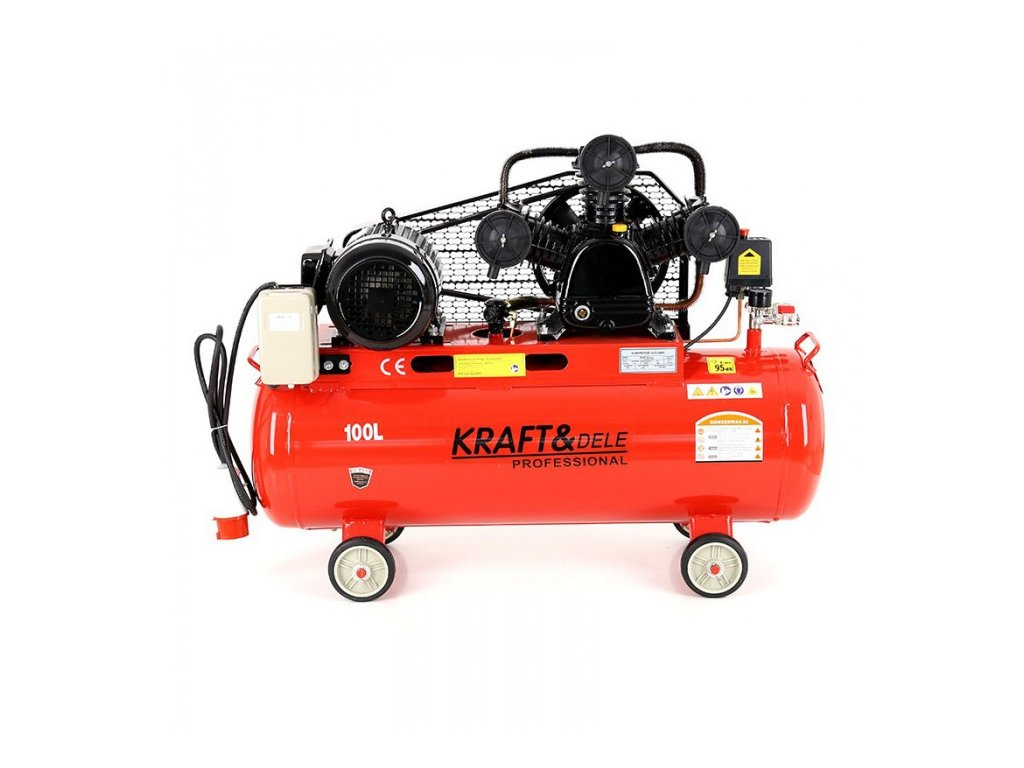 Olejový kompresor, 100l, třípístový, 3,4kW, Kraft&Dele KD405