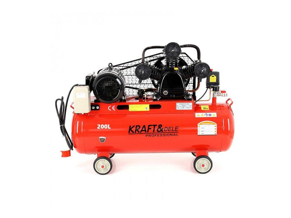 Olejový kompresor, 200l, třípístový, 4,8kW, Kraft&Dele KD408