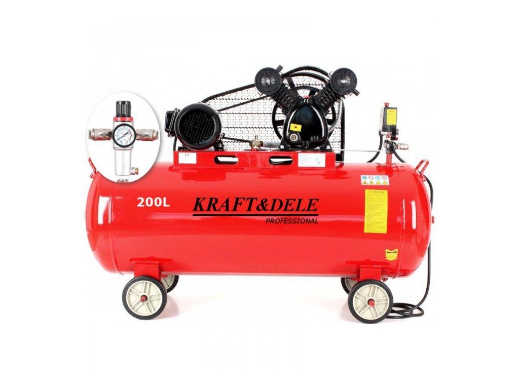 Olejový kompresor, 200l, dvoupístový, 3,8kW + separátor, Kraft&Dele KD1473