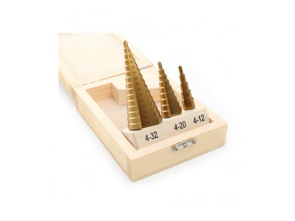 Vrták stupňovitý sada 4-32mm, stupňování po 2mm, HSS, Kraft&Dele KD10244