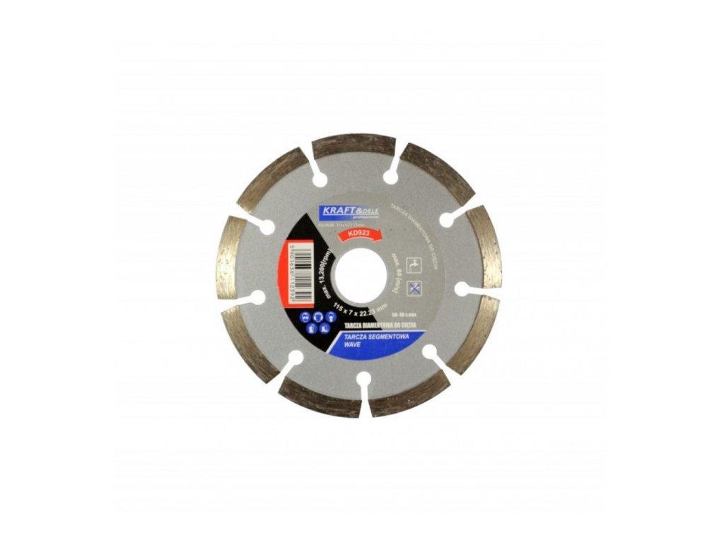 Diamantový řezný kotouč na beton WAVE 115mm, Kraft&Dele KD923