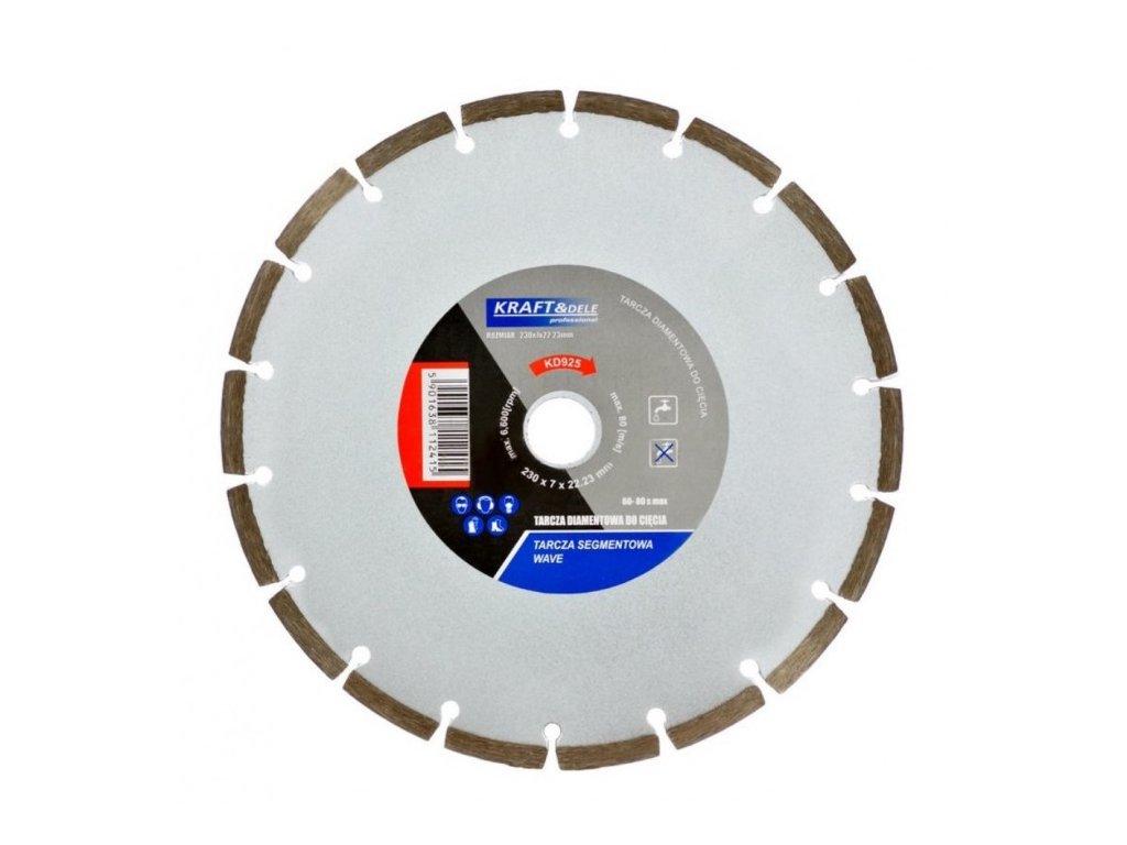 Diamantový řezný kotouč na beton WAVE 230mm, Kraft&Dele KD925