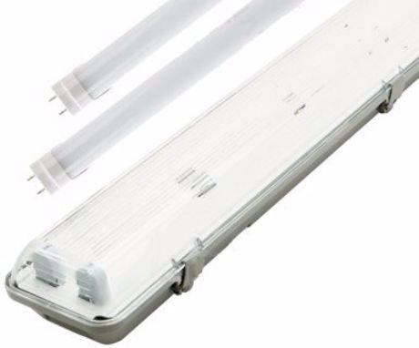 LED Feuchtraumleuchte 120cm + 2x LED Leuchtstoffröhre Warmweiß