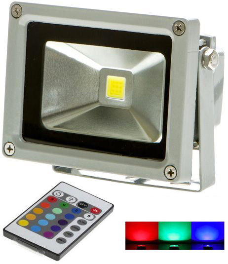 Silber RGB LED Strahler 10W mit RF Controller
