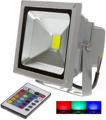 Silber RGB LED Strahler 20W mit RF Controller