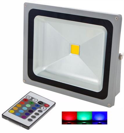 Silber RGB LED Strahler 50W mit RF Controller