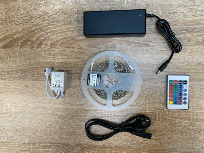 LED páska 14,4W/m bez krytí RGB kompletní sada, 5m