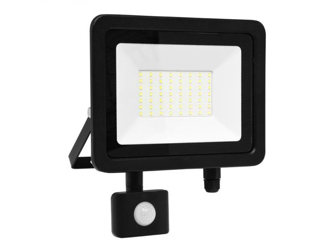 Černý LED reflektor 50W city s čidlem 5000K denní bílá