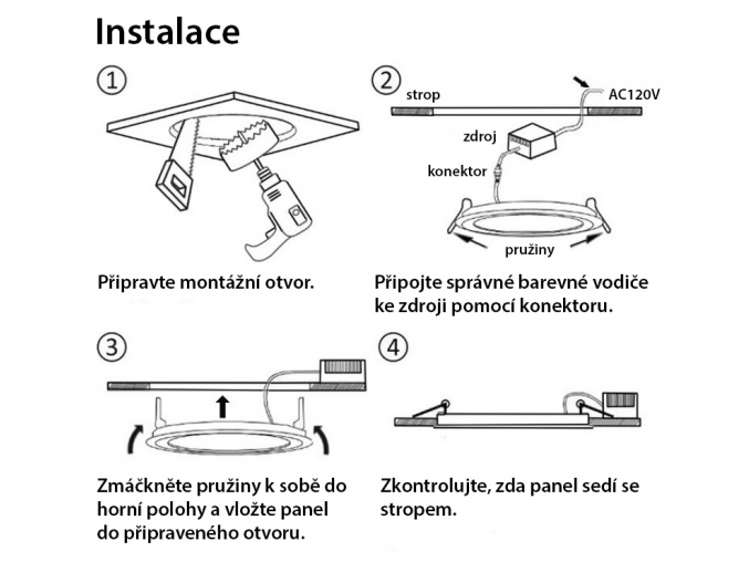 Vestavný LED panel RGB 300 x 600 mm 15W