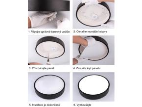 Šedý designový LED panel 400x400mm 24W teplá bílá